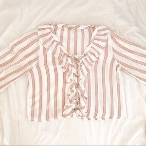 AEO Red Ruffle Tie Up Blouse